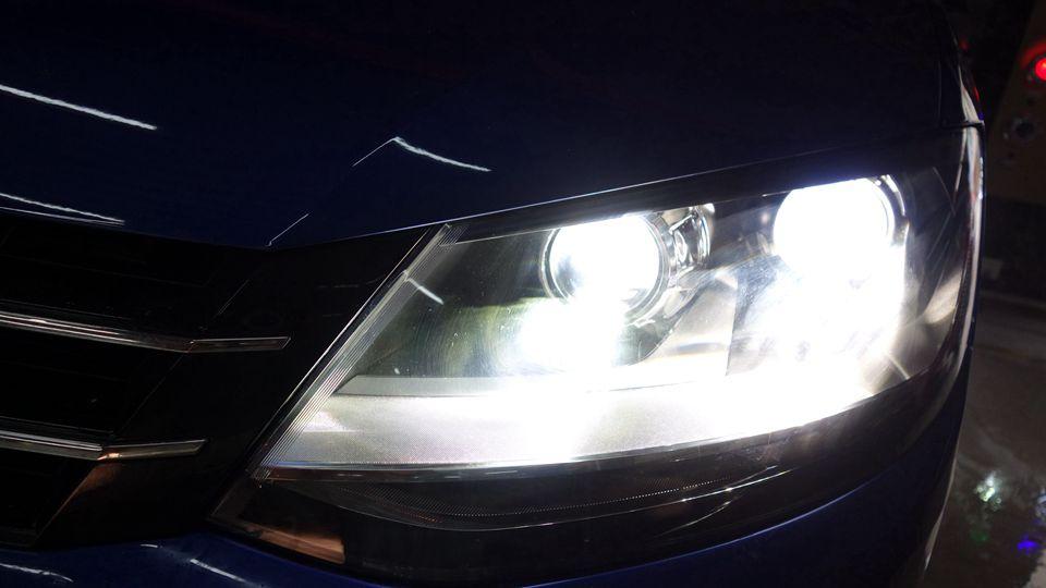 大众夏朗原车不亮改LED4透镜