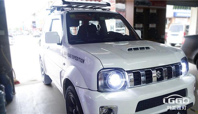 铃木吉姆尼改灯,车灯改装欧司朗X7 LED双光透镜