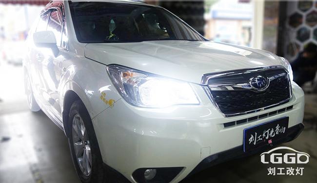 武汉改灯,斯巴鲁森林人车灯改装欧司朗X7-LED双光透镜