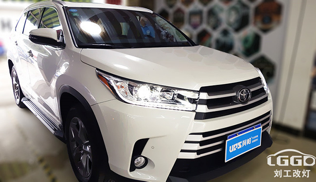 丰田汉兰达改灯,车灯改装欧司朗35W套装,亮度至少提升3-5倍