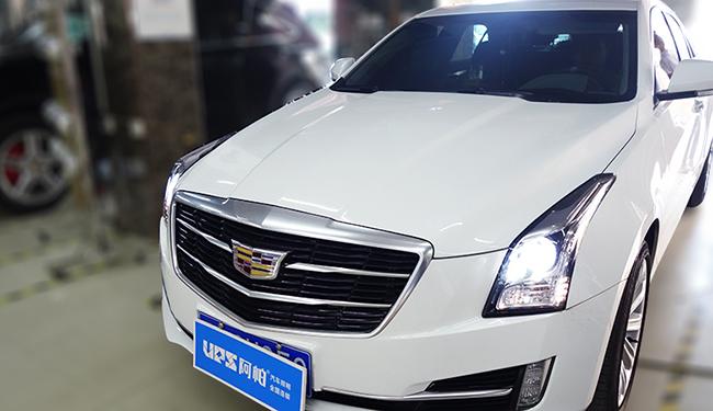 凯迪拉克ATSL大灯改装,车灯升级阿帕6plus套装+白黄日行灯