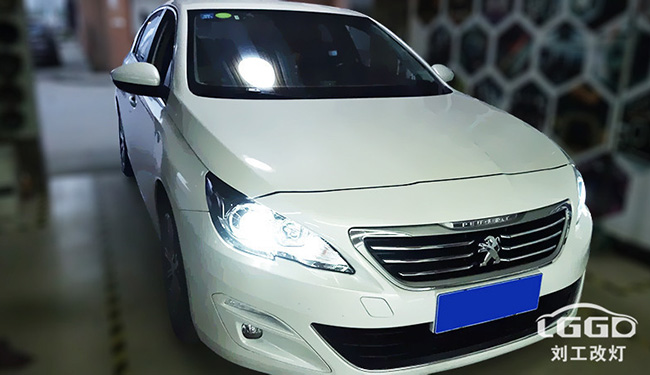 标致408汽车大灯改装,车灯改装阿帕黄金版套装,亮度提升3-5倍