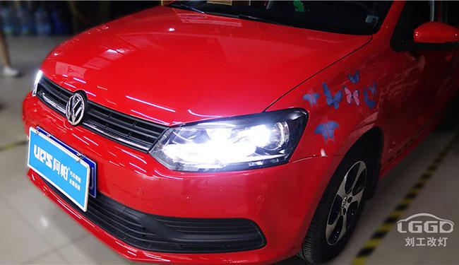 大众Polo改灯,远光亮度偏低改装欧司朗X7-LED双光透镜改善行车环境