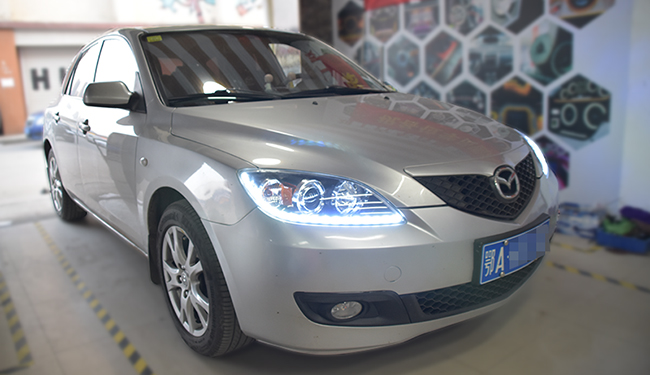 马自达3车灯改装,改装恒威LED双光透镜!