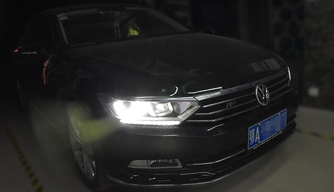 武汉刘工改灯,迈腾B8改装大灯,改装超世界LED双光透镜!