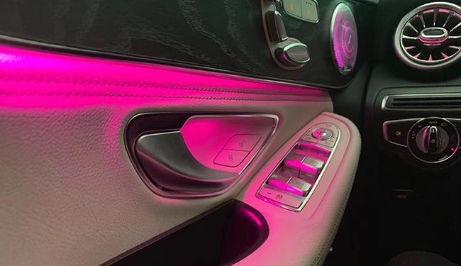 奔驰GLC改装,加装64色氛围灯!非常奈斯
