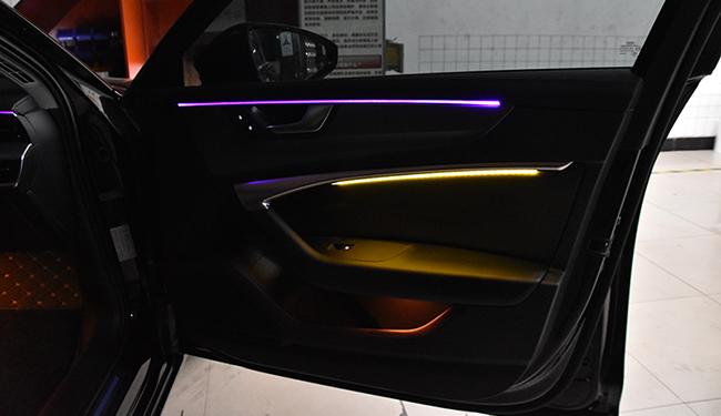 奥迪A6改装氛围灯,改装64色氛围灯!